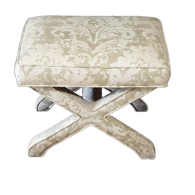 Hollywood Regency 1950s Vintage Milo Baughman Style Bench X Upholstered Hollywood Regency Stool For Sale - Image 3 of 9