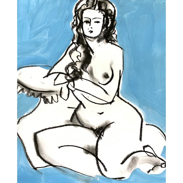 Drawing from the model - contour gesture drawing of the beauty of a woman. Acrylic paint, charcoal on paper.