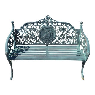Sculpted Cast Iron Bench With Bird Theme For Sale
