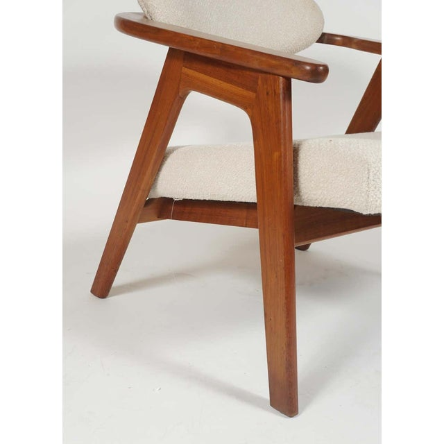 White Adrian Pearsall Lounge Captain's Chair for Craft Associates Model 916-CC in Walnut For Sale - Image 8 of 10