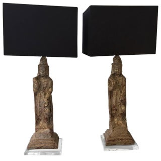 Patinated Plaster Asian Figures Table Lamps on Lucite Stands - a Pair For Sale