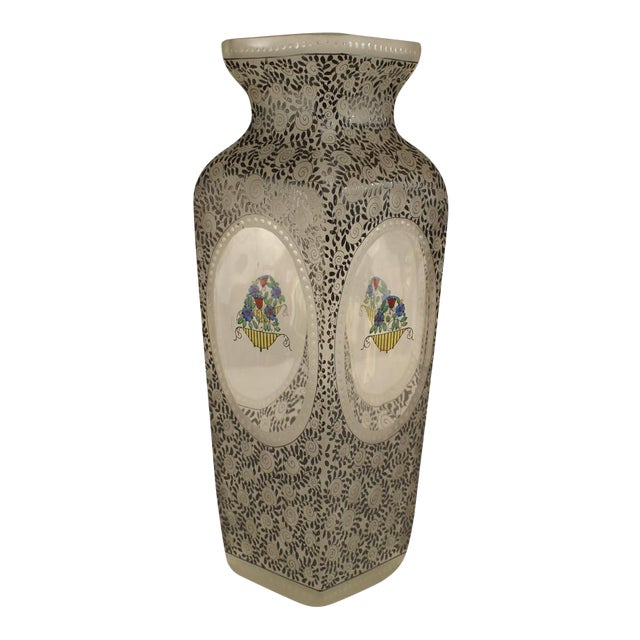 Austrian (Bohemia) Secessionist Tapered Square Glass Vase For Sale