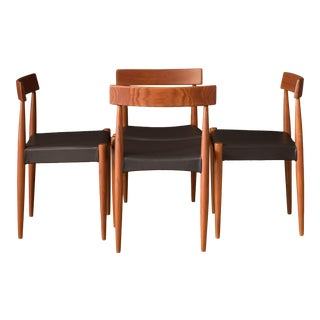 Set of Four Danish Teak Dining Chairs by Arne Hovmand-Olsen for Mogens Kold For Sale