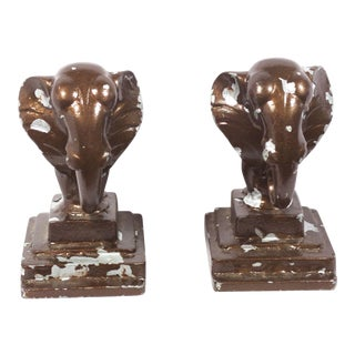 Vintage Art Deco Elephant Bookends - A Pair
