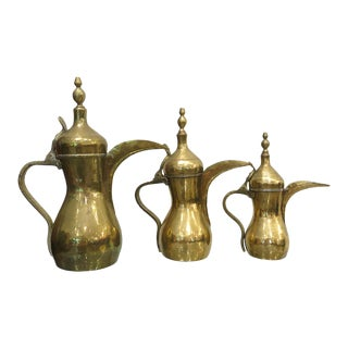 Brass Tea Pots / Coffee Pots - Set of 3 For Sale