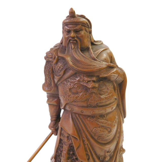 Chinese Wood Carved General Guan Statue - Image 2 of 6