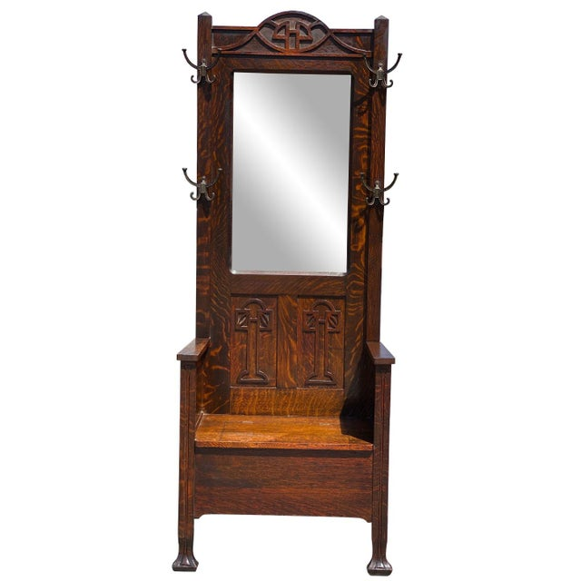 Antique Arts & Crafts Quartersawn Oak Carved Hall Tree Bench W/ Mirror For Sale - Image 13 of 13