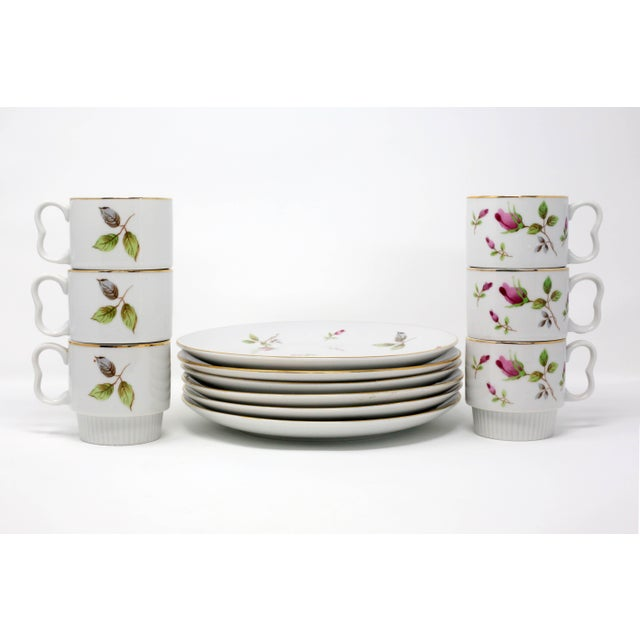 1970s Chinoiserie Royal Geoffrey Rosebud Snack Plates and Cups - 12 Piece Set For Sale - Image 11 of 13