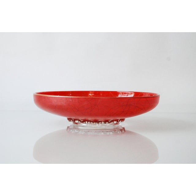 Large Red Mid-Century Glass Bowl - Image 5 of 6