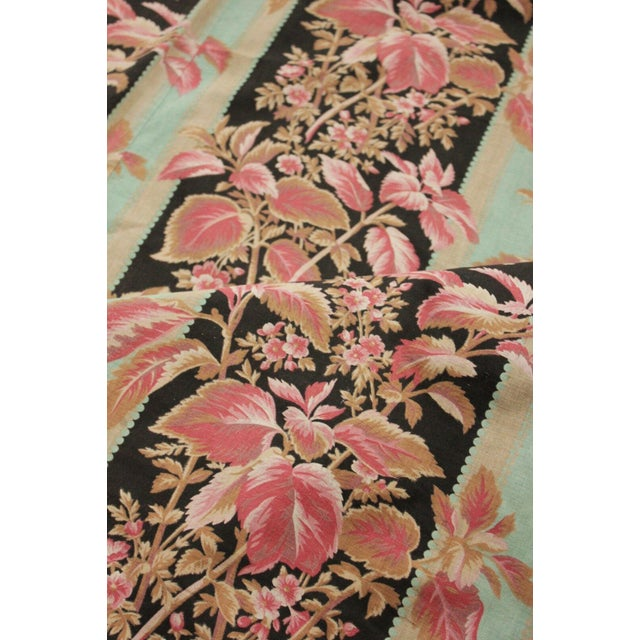 Black Fabric Antique French Black & Teal Stripes W/ Red Pink Florals 1880 Belle Epoque For Sale - Image 8 of 11
