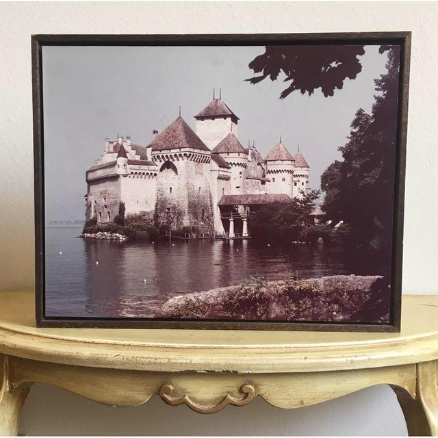 Large 1960s Castle Photograph on Rustic Wood - Image 2 of 4