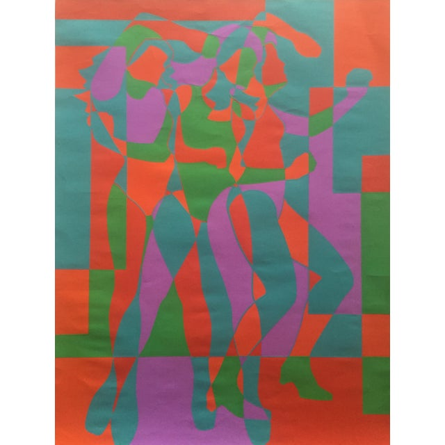 """Canvas 1968 Signed Roy Ahlgren Silkscreen """"Three Graces"""" For Sale - Image 7 of 7"""