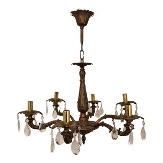 20th Century French Brass Chandelier For Sale