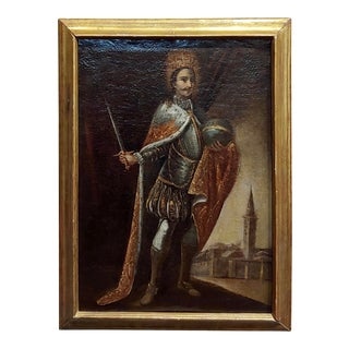 17th Century Portrait of a King With His Sword -Icon Oil Painting For Sale