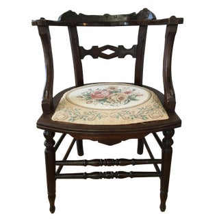20th Century Folk Art Carved Library Side Chair For Sale