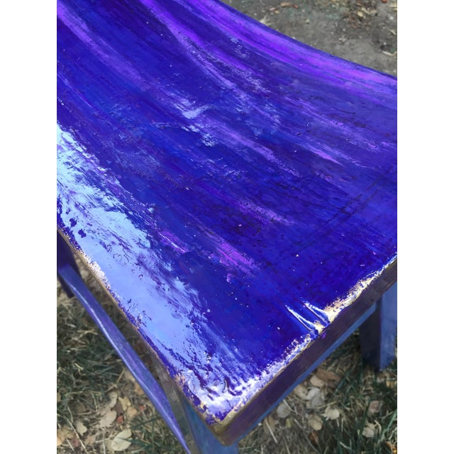 Hand-Painted Violet Saddle Seat For Sale - Image 4 of 5