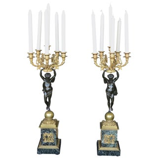 Pair of Empire Style Candelabra For Sale