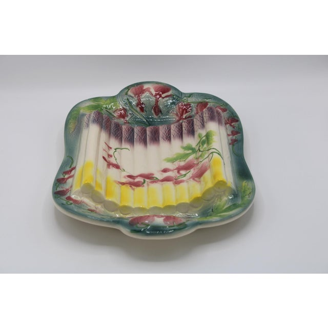 French Country Majolica Asparagus Platter For Sale - Image 4 of 13