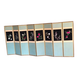 1940s Vintage Korean Eight-Panel Silk Embroidered Screen For Sale