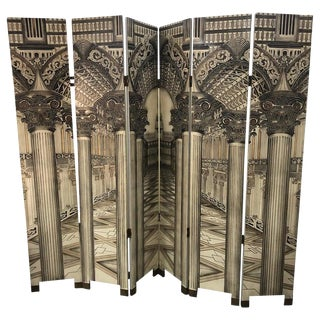 Fornasetti Style Modern 6 Panel Architectural Screen For Sale