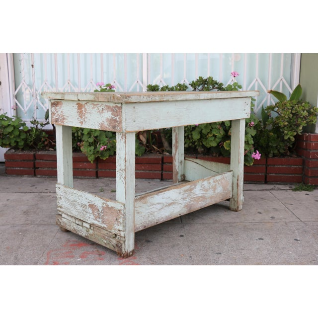 1950s Rustic Distressed Farm Table For Sale - Image 9 of 10