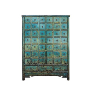 Chinese Distressed Teal Blue 45 Drawers Medicine Apothecary Cabinet