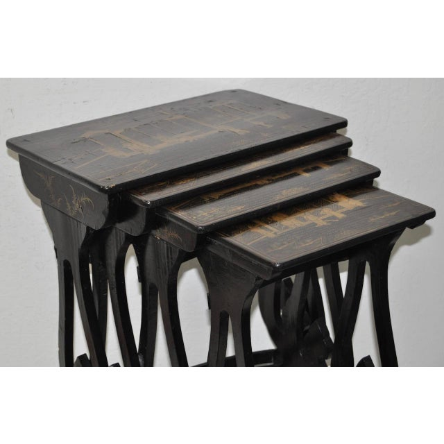 19th Century Chinoiserie Black Lacquered & Gold Nesting Tables - Set of 4 For Sale In San Francisco - Image 6 of 10
