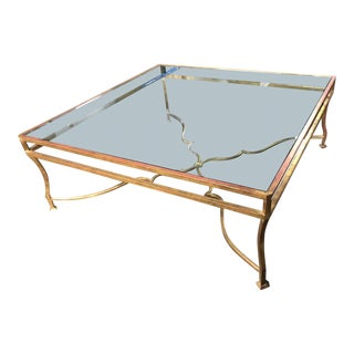 Paul Ferrante Gilt Metal Glass Top Square Cocktail Table For Sale