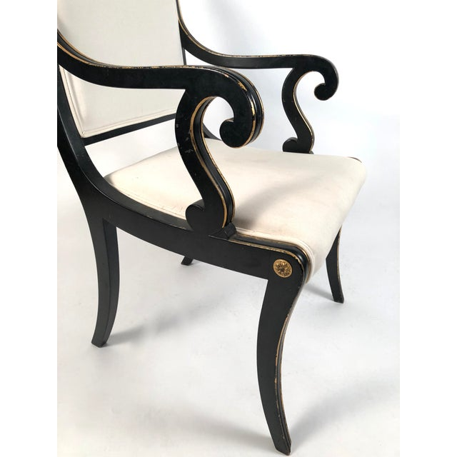 Regency Style Ebonized and Parcel Gilt Armchair For Sale - Image 10 of 12