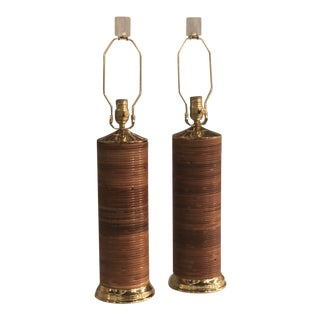 Vintage Pencil Reed Rattan Bamboo Brass Table Lamps - A Pair For Sale