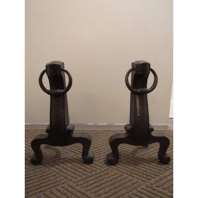 Arts & Crafts Antique Mission Arts Crafts Bronze Cahill Andirons Fire Dogs Hammered Finish - A Pair For Sale - Image 3 of 11