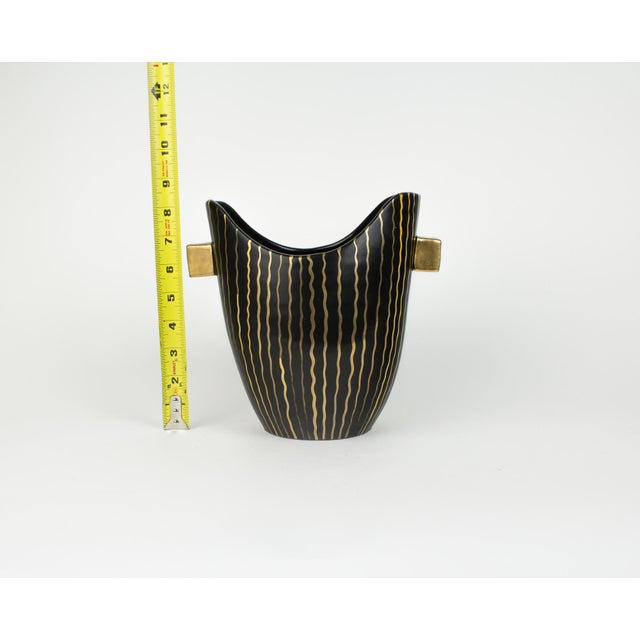 Mid Century Italian Striped Black and Gold Vase For Sale - Image 12 of 13