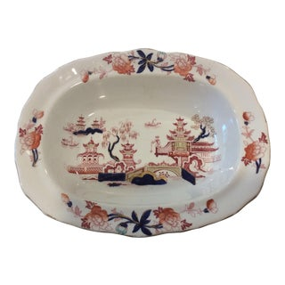 19th Century Antique English Chinoiserie Staffordshire Vegetable Bowl by Burgess & Leigh For Sale