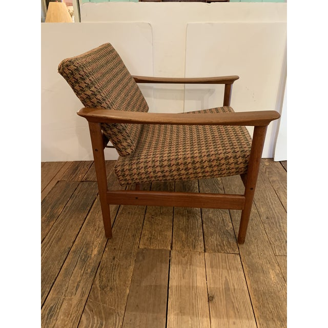 Wood Danish Mid Century Modern Teak and Upholstered Club Chairs- A Pair For Sale - Image 7 of 9