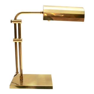 Vintage Brass Adjustable Desk Lamp For Sale