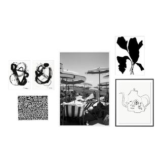 Black and White Gallery Wall, Set of 6 For Sale