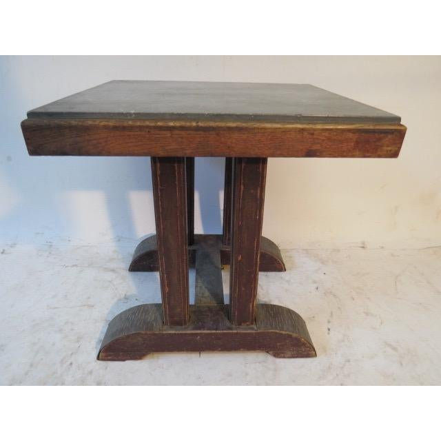 Arts & Crafts Vintage Marble Top Side Table For Sale - Image 3 of 5