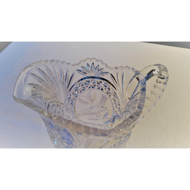 Glass Simply Beautiful Etched Bird Motif Clear Cut Glass Footed Pitcher For Sale - Image 7 of 12