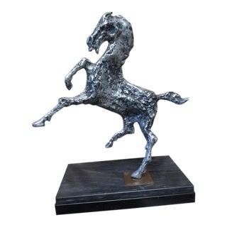 Mid-Century Brutalist Rearing Horse Aluminum Metal Sculpture For Sale