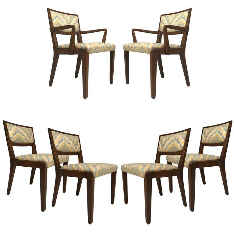 Set Of Six Edward Wormley For Drexel Dining Chairs With Chevron Upholstery    Image 6 Of