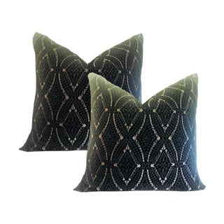 Art Deco Embroidered Velvet Pillows - a Pair For Sale