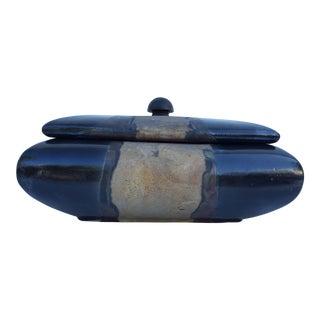 Tony Evans Decorative Raku Ceramic Box Vase For Sale