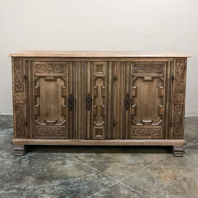 19th Century English Stripped Oak Buffet For Sale - Image 13 of 13