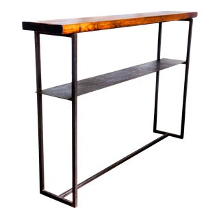 """Hand-Made Hickory Hardwood Aged Metal Console Table 51"""" For Sale"""