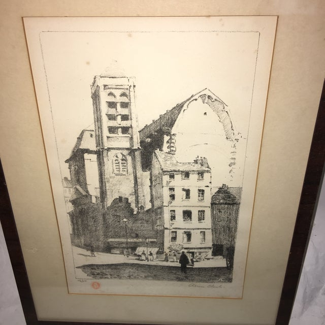 A wonderful vintage signed and numbered 46/50 Lithograph of an European Town Scene with figures. Great composition and...