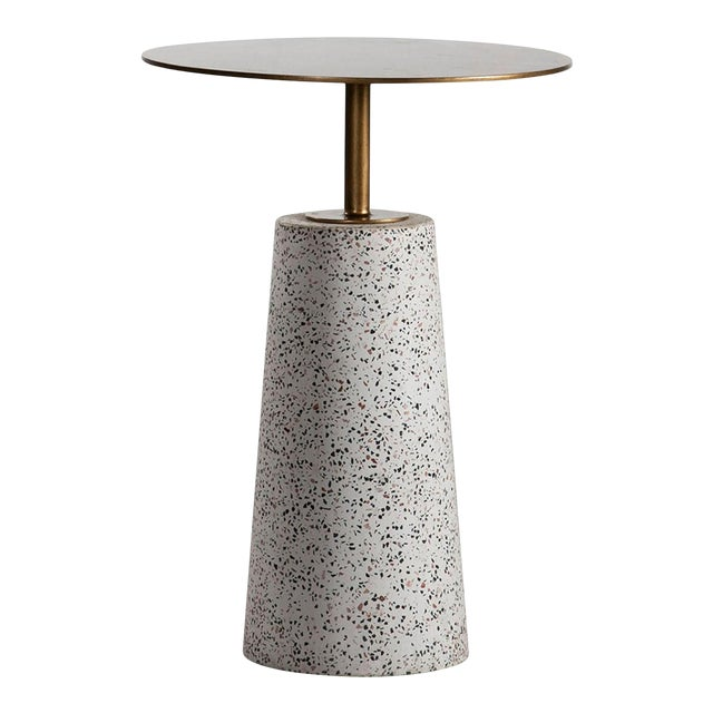 Terazzo & Brass Round Side Table For Sale