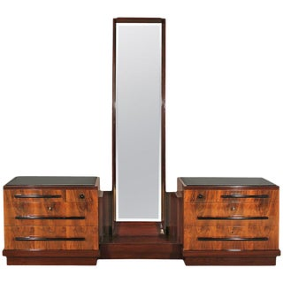 1930s Art Deco Double Chest of Drawers, Mirror, Walnut, Mahogany, Italy For Sale