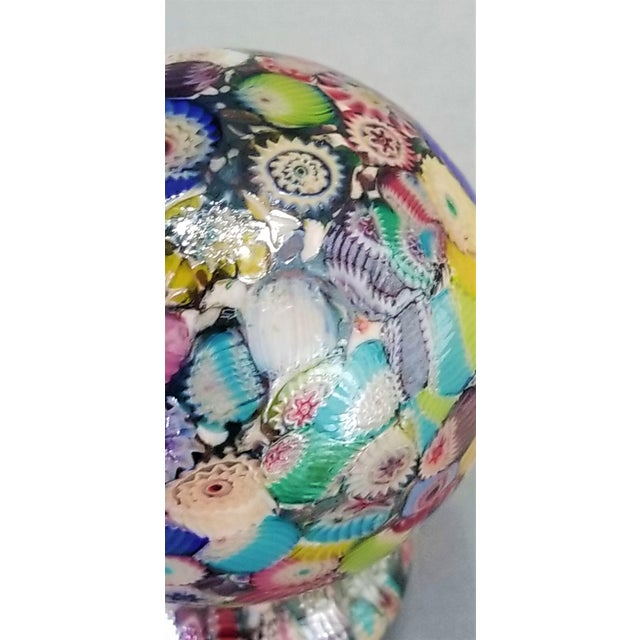 Murano Glass Millefiori Paperweight by Gambaro & Poggi - Vintage Venetian Italian Italy Mid Century Modern MCM Palm Beach Boho Chic Vase Bowl For Sale - Image 9 of 13