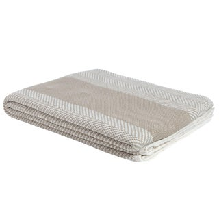 Eco Poly Herringbone Stripe Camel & Ivory Throw