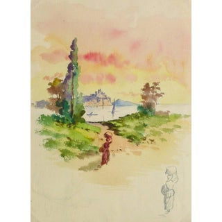 Watercolor Landscape - Evening Stroll For Sale